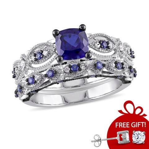 Miadora Signature Collection 10k White Gold Created Sapphire and 1/10ct TDW Diamond Bridal Set