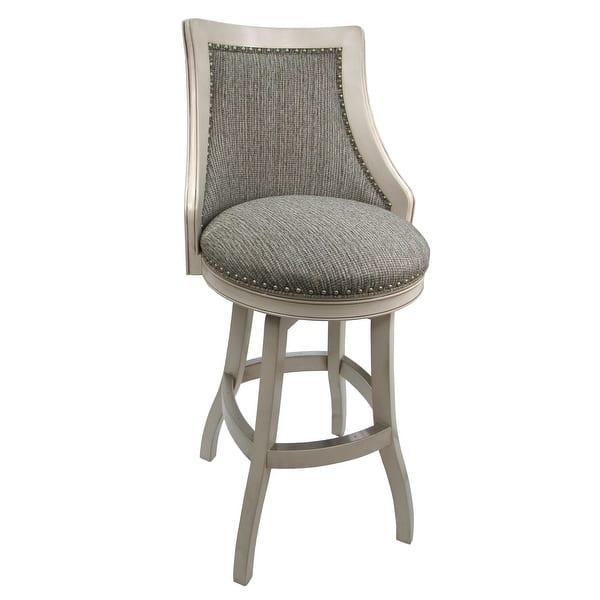 Shop Swivel Wood Bar Stool Bali Custom Upholstery Wood Finish 26 Inch Seat 26 Inch Seat Overstock 30832125