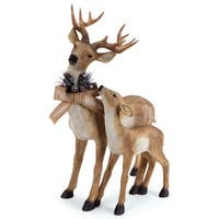 "25"" Standing Reindeer with Fawn and Wreath Table Top Christmas Decoration - brown"