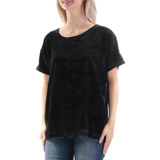 LUCKY BRAND $79 Womens New 1314 Black Velvet Jewel Neck Short Sleeve Top L B+B