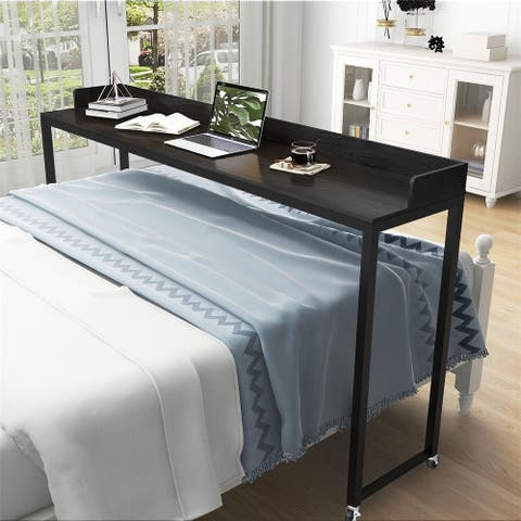 Merax Overbed Computer Desk with Heavy-Duty Metal Legs and Wheels, Great for Queen Bed