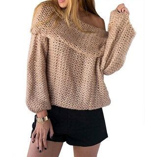 QZUnique Women's Sexy Off Shoulder Loose Knit Pullover Sweater Oversized Long Sleeves Jumper