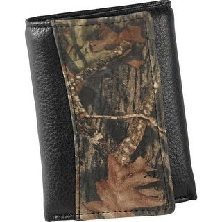 Legendary Whitetails Men's Mossy Oak Black Leather Trifold Wallet - One Size