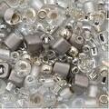 Toho Multi-Shape Glass Beads 'Junpaku' Crystal/Silver Color Mix 8 Gram Tube - Thumbnail 0