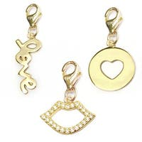 Julieta Jewelry Love, Lips, Heart Disc 14k Gold Over Sterling Silver Clip-On Charm Set