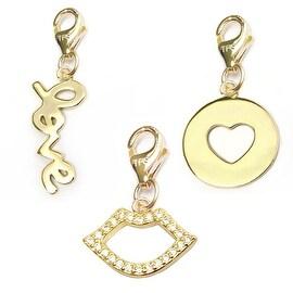 Julieta Jewelry Love, Lips, Heart Disc 14k Gold Over Sterling Silver Clip-On Charm Set