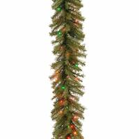 "9' x 12"" Pre-Lit Artificial Christmas Garland - Multicolor Clear Lights - green"