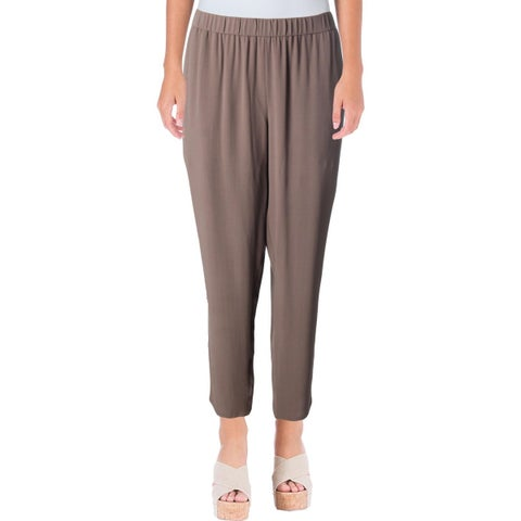 Eileen Fisher Womens Petites Ankle Pants Silk Crepe
