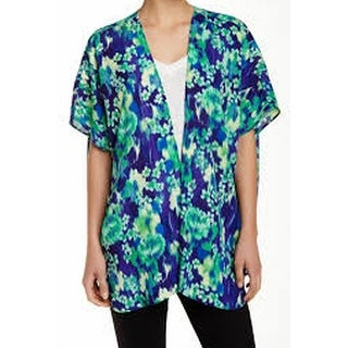 Soprano NEW Blue Green Women's Size XL Kimono Printed Open-Front Sweater