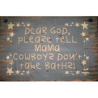 Cowboy Signs Wood Wall Hanging Western Rustic Cowboy Bath Navy - 11 x 15