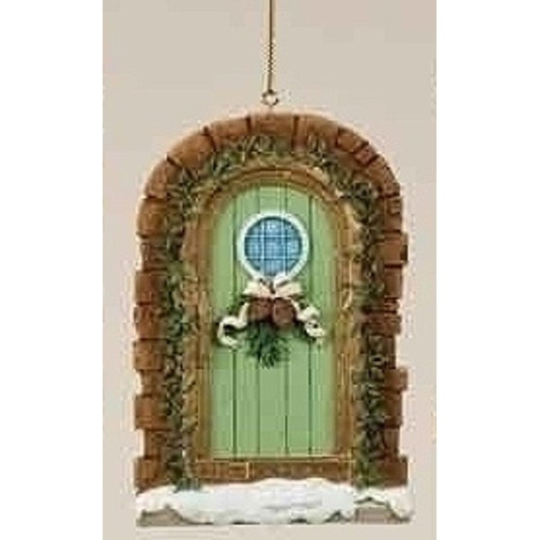 "Christmas Garden ""Warmth and Joy"" Snowy Door Ornament with Pine Cone Swag"
