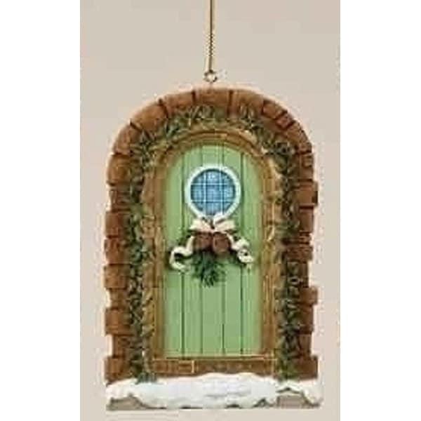 "Christmas Garden ""Warmth and Joy"" Snowy Door Ornament with Pine Cone Swag - brown"
