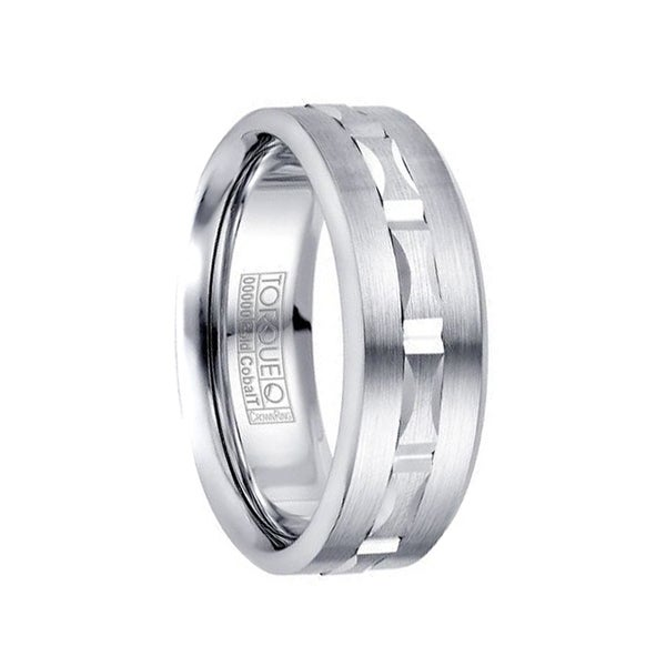 Brushed White Cobalt 10k Gold Inlaid Grooved Center Menx27s Wedding Band