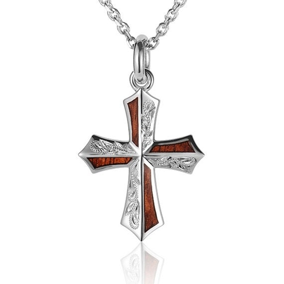 "Cross Necklace Koa Wood Sterling Silver Pendant 18"" Chain"