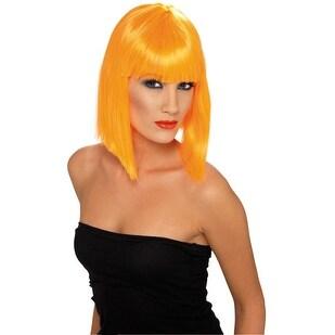 Womens Short Neon Orange Glam Wig - standard - one size