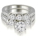 2.40 cttw. 14K White Gold Bar Set Round Cut Diamond Engagement Set - White H-I - Thumbnail 0