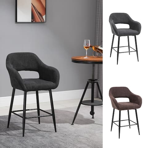 HOMCOM Counter Height Barstool Linen Fabric Upholstered Kitchen Breaskfast Chair with Footrest & Metal Legs