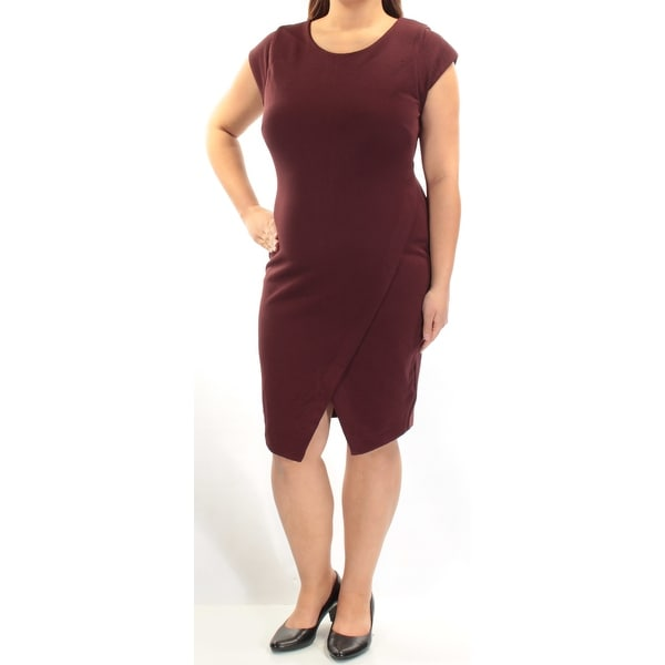 549ca4a5b9853 Womens Burgundy Short Sleeve Below The Knee Tulip Wear To Work Dress Size:  XL