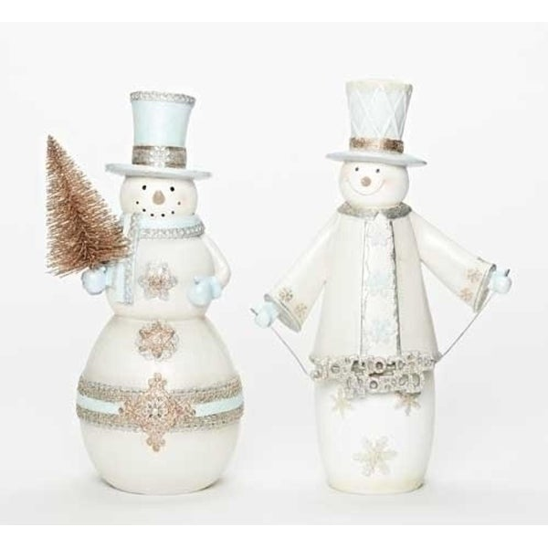 "12.5"" White Snowman with Tree Christmas Figure"