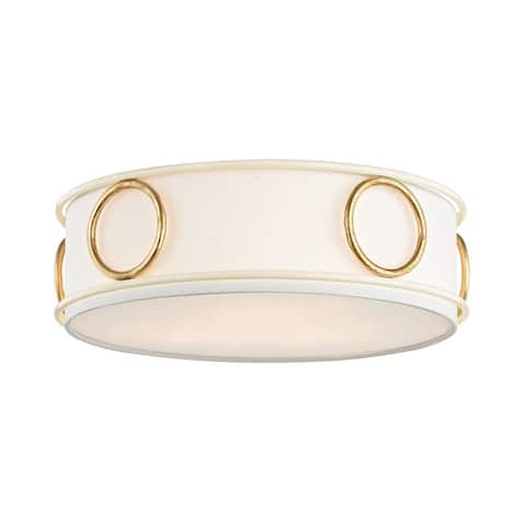 Mitzi by Hudson Valley Jade 3-light Gold Leaf Flush Mount with Cream Accents, Off White Linen