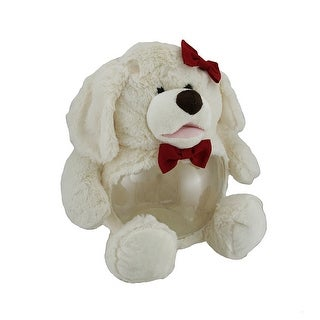 Teddy Tank Plush White Dog Fish Bowl w/Red Bows