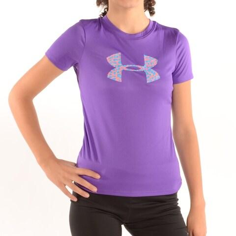 Girl'S Big Logo Tech Shirt Purple/Blue Pink Print