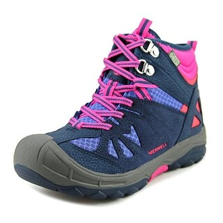 Merrell Capra Mid Waterproof Youth Round Toe Leather Blue Hiking Boot