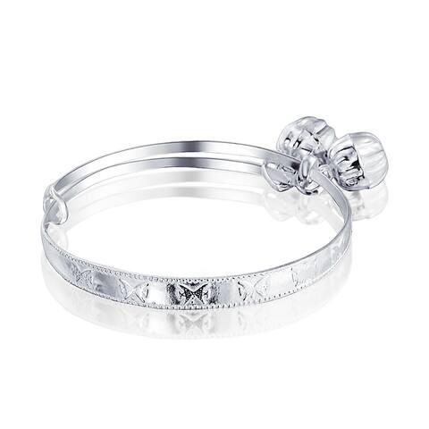 Dainty Jingle Bells Butterfly Bangle Bracelet For Small Wrists Wrist 6.5in 925 Sterling Silver Adjustable Bells