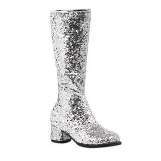 Girls Silver Glitter Go-Go Boots