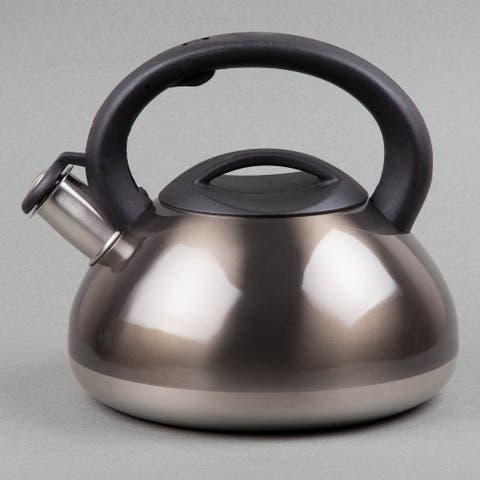 Creative Home Sphere 3.0 Quart Stainless Steel Whistling Tea Kettle, Stovetop Tea Kettle, Metallic Smoke