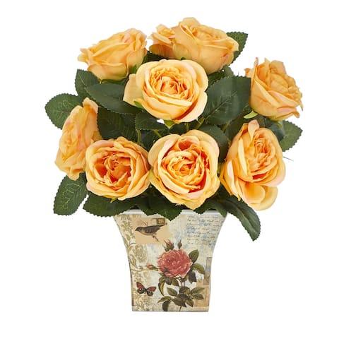 """11"""" Rose Artificial Arrangement in Floral Vase"""