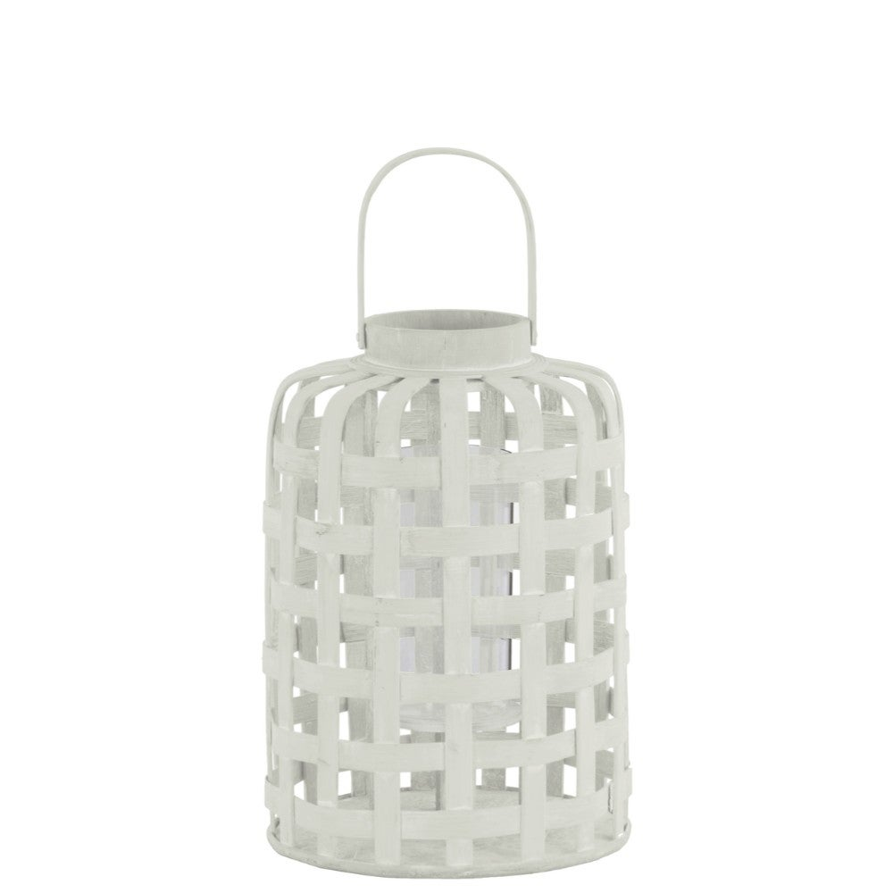 Wood Round Lantern with Lattice Design Body and Handle, White