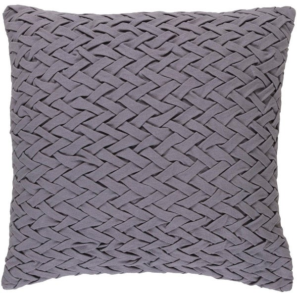 "22"" Lilac Gray Woven Decorative Square Throw Pillow - Down Filler"