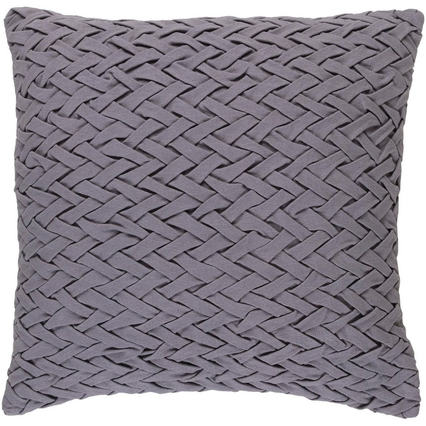"22"" Lilac Gray Woven Decorative Square Throw Pillow"