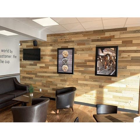 Timberchic Reclaimed Wooden Wall Planks - Peel and Stick Application (River Planks)