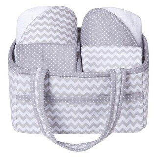 Trend Lab 102472 Gray Chevron 5 Piece Baby Bath Gift Set