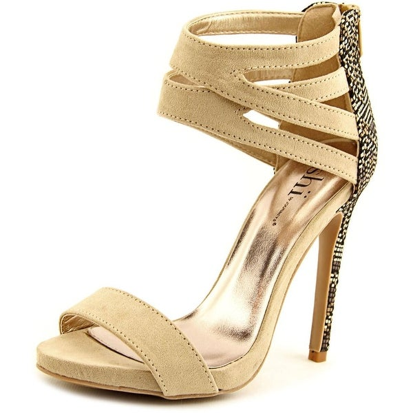 Famous Name Brand Connie Women Open Toe Synthetic Tan Sandals