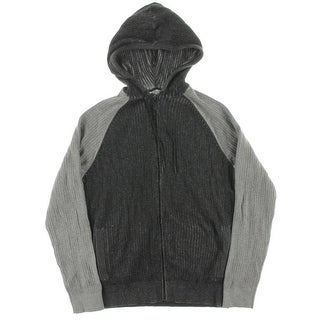 Kenneth Cole Reaction Mens Colorblock Ribbed Knit Zip-Front Hoodie