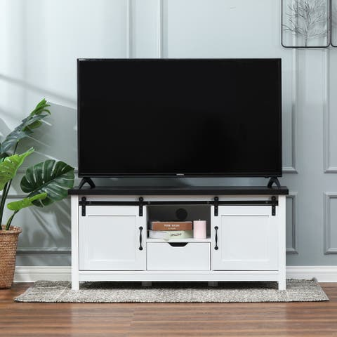 """White and Brown Wood TV Stand - 48"""" W x 22.5"""" H x 2.52"""" D"""