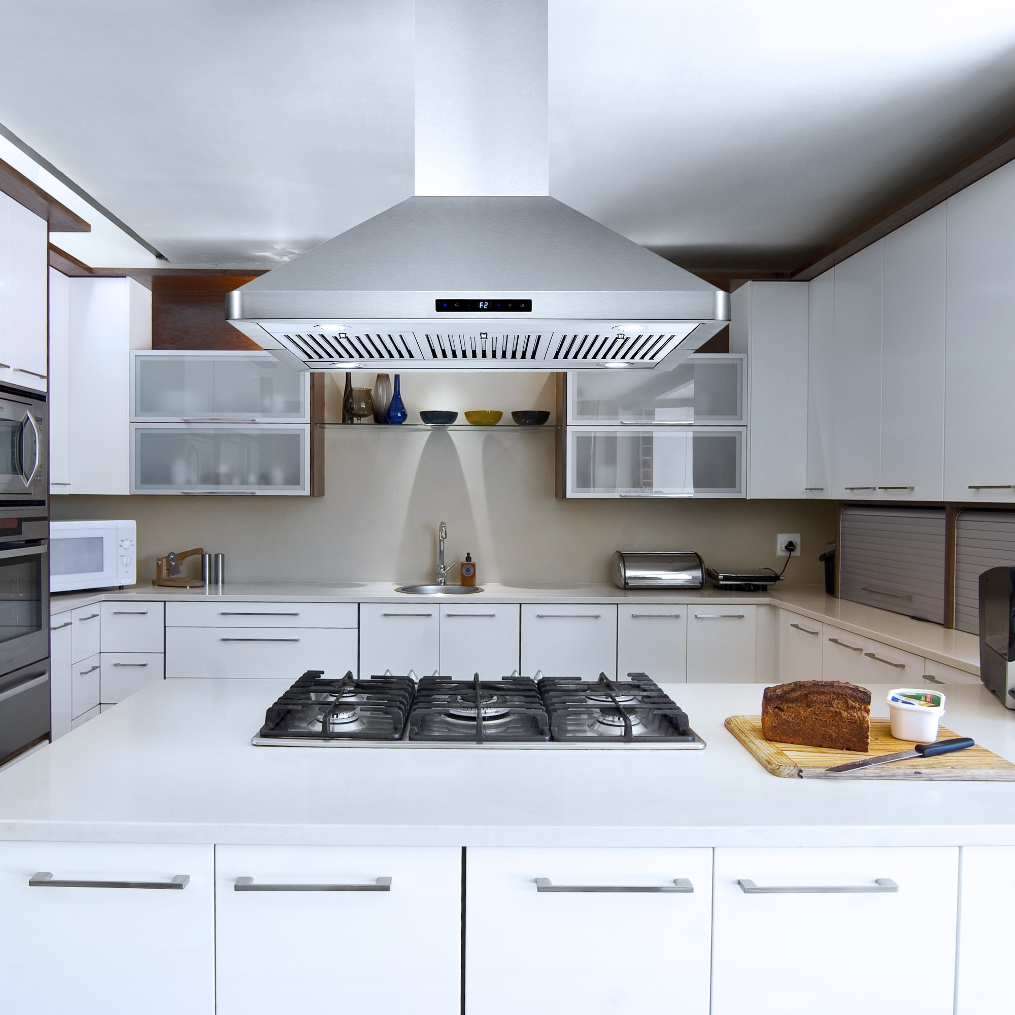 Picture of: Shop 36 In Ductless Island Mount Range Hood In Stainless Steel With Led Lighting And Permanent Filters Overstock 21682457