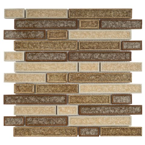 TileGen. Roman Art Mario Random Sized Ceramic in Beige/Brown Wall Tile (10 sheets/9.6sqft.)