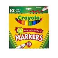 Crayola Original Broad Line Markers, Assorted Classic Colors, Set of 10