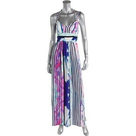 Amanda Uprichard Womens Petites Printed Side Slits Maxi Dress - p