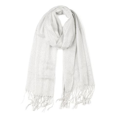 Shiny Glitter Shawl Wrap Scarves with Tassel for Women Men - White