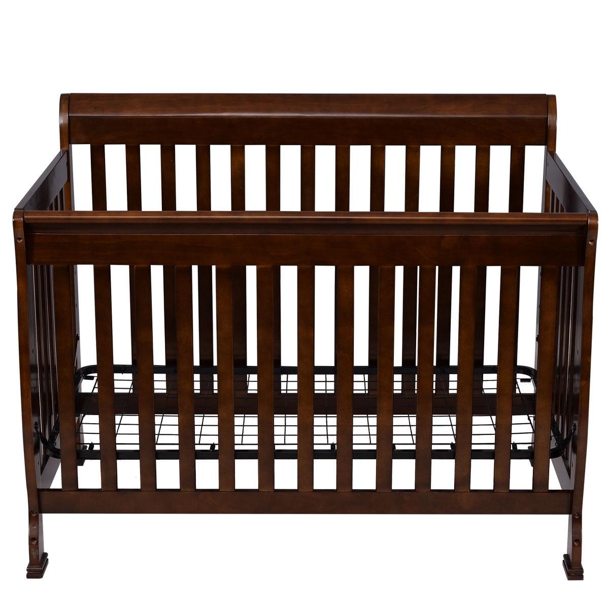 Coffee Pine Wood Baby Toddler Bed Convertible Crib Nursery Furniture Children