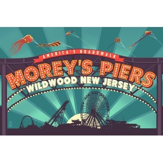 Wildwood, New Jersey - Morey's Pier Marquee - Lantern Press Artwork (Art Print - Multiple Sizes Available)