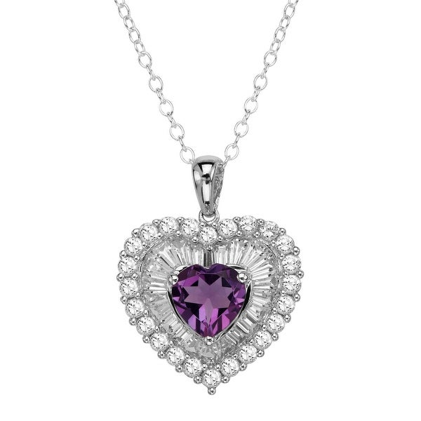 1 7/8 ct Natural Amethyst & Created White Sapphire Heart Pendant in Sterling Silver