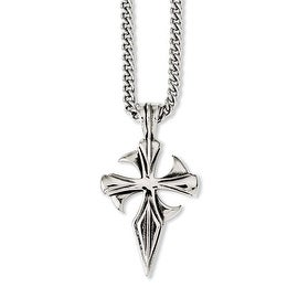 Chisel Stainless Steel Polished Antiqued Dagger Cross 22in Necklace 3 Mm 22 In