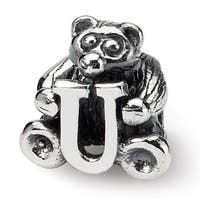 Sterling Silver Reflections Kids Letter U Bead (3.5mm Diameter Hole)