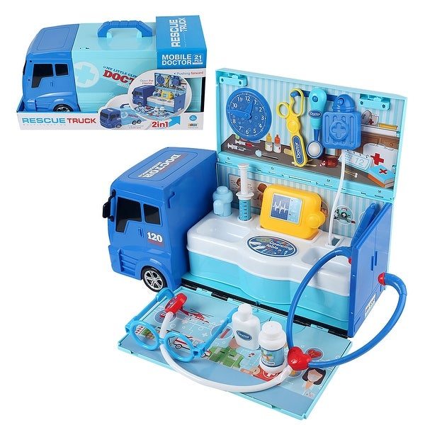 "Pretend Play Doctor Set Portable Medical Ambulance Learning Kit - 9'6"" x 13'. Opens flyout."
